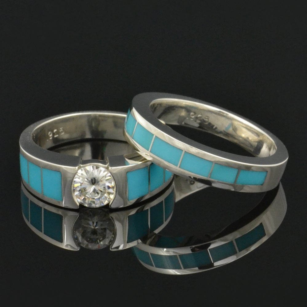 Image of Turquoise Wedding Ring and Moissanite Engagement Ring Set