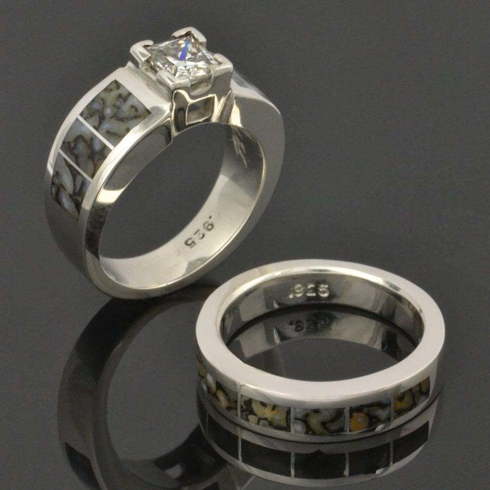 Image Of Dinosaur Bone Wedding Ring And White Sapphire Engagement Ring