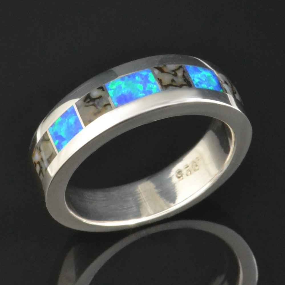 Image of Gray Dinosaur Bone and Lab Created Opal Ring