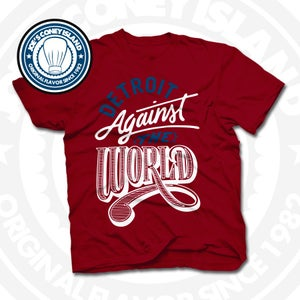 Image of Detroit Against The World Red (Wht/Navy) Tee