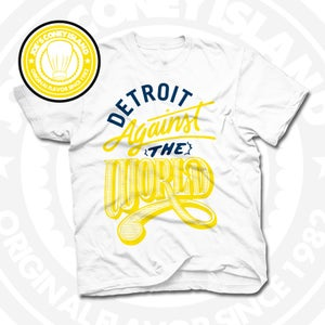 Image of Detroit Against The World White (Yellow/Navy) Tee