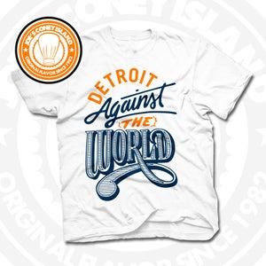 Image of Detroit Against The World White (Orange/Navy) Tee