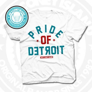 Image of Pride of Detroit White (Red/Teal) Tee