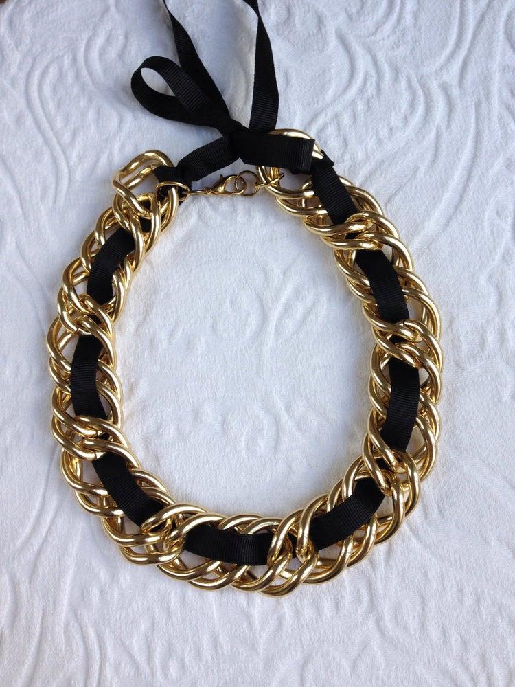 Image of Black ribbon chunk link necklace