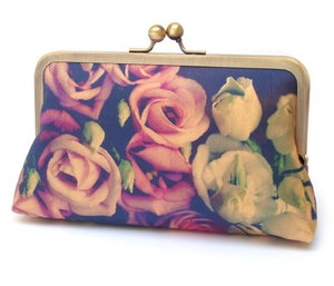 Lisianthus bouquet clutch bag, silk purse, flower wedding handbag - Red Ruby Rose