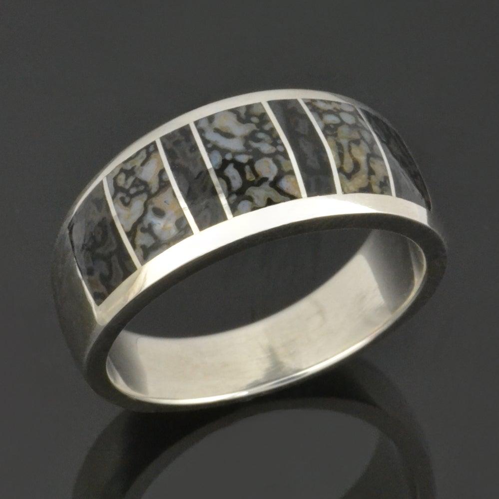 Image of Gray Dinosaur Bone Ring in Sterling Silver