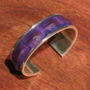 Image of Plum Crocodile and Sterling Silver Cuff