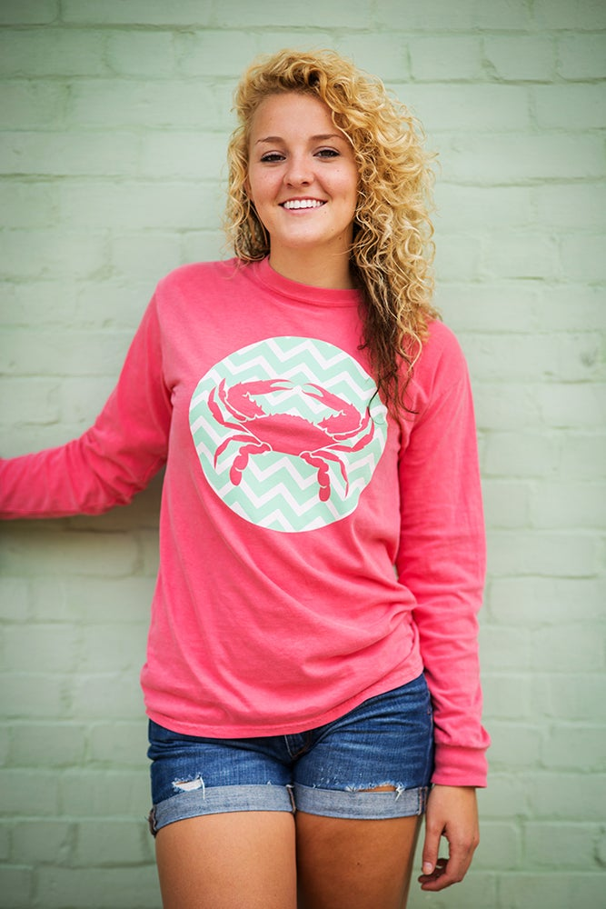 Image of Watermelon Chevron Crab Long Sleeve Tee