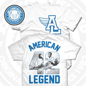 Image of American Legend (Sports Blue) White Tee