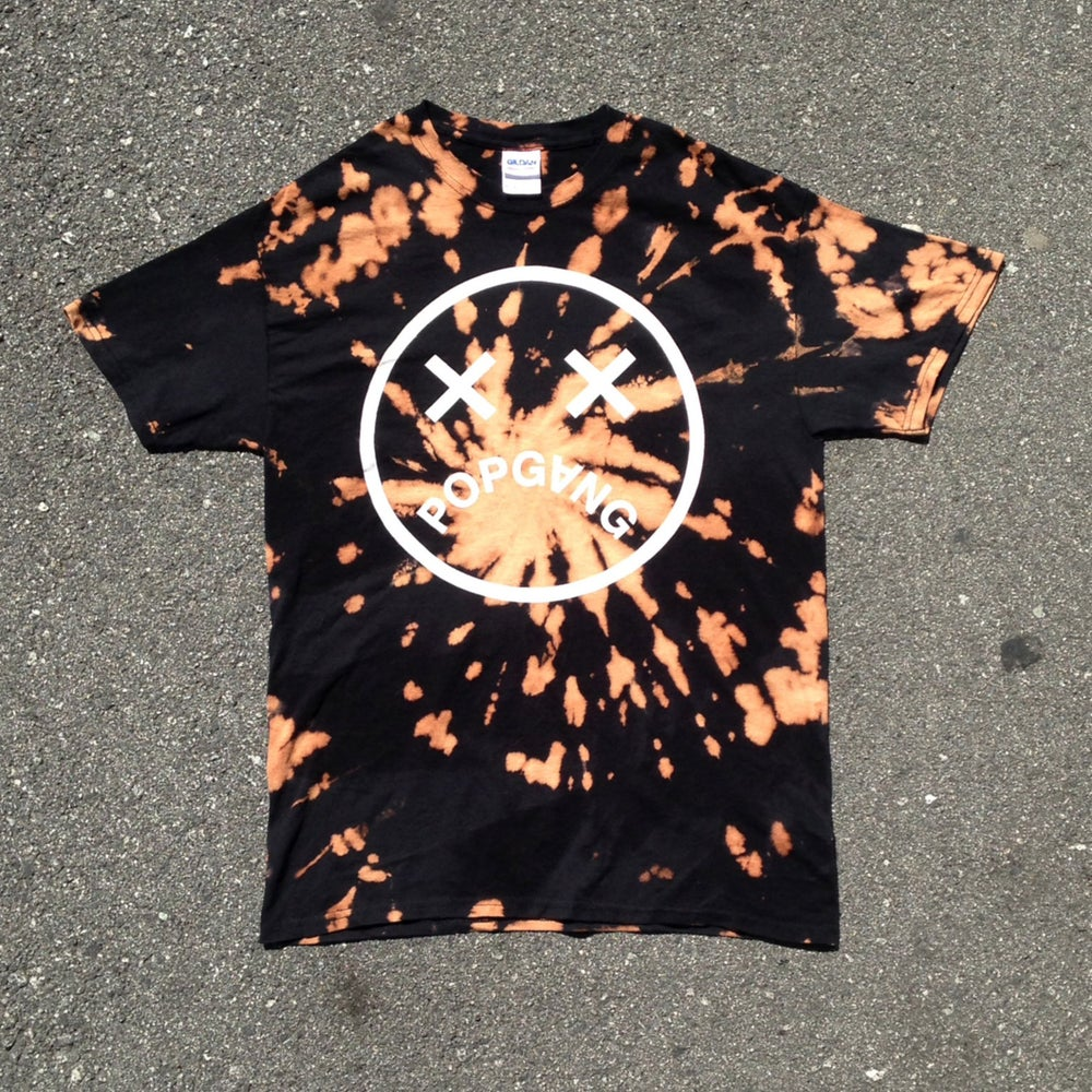 Image of POPGANG Smiley Bleached Dye Tee