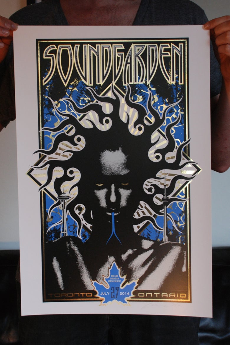 Image of SOLD OUT - Soundgarden Toronto - Maple Leafs-Blue Jay's variant on Gold Foil