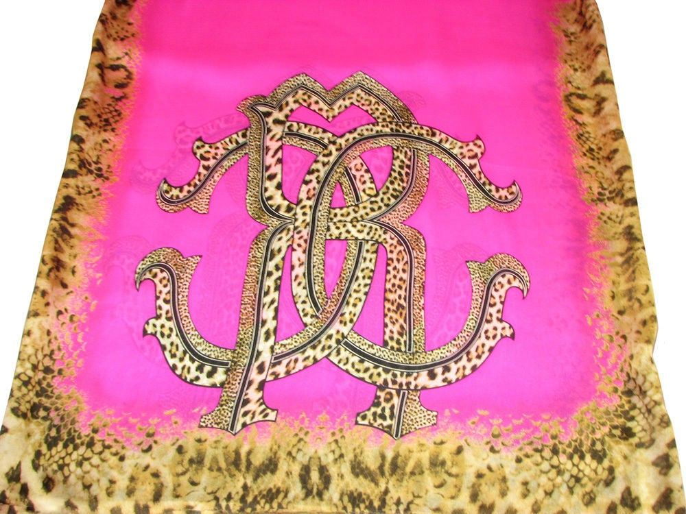 "Image of SOLD OUT Roberto Cavalli Pink and Leopard Print Silk Scarf 68"" X 26"""