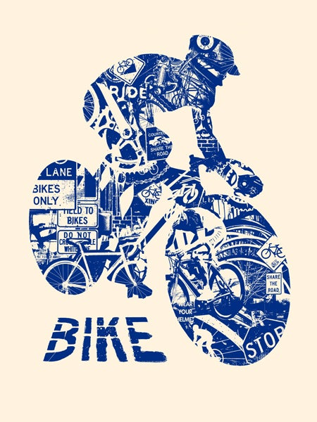 Image of Bike Anatomy Art Print - Navy