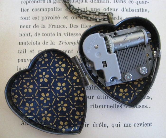 Image of Little Unicorn Music Box Locket - regal blue & gold