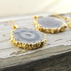 Image of Speleothem - Gold Amethyst Stalactite Slice Necklace
