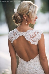 Image of Custom Made A line Backless V neck Lace Wedding Dresses