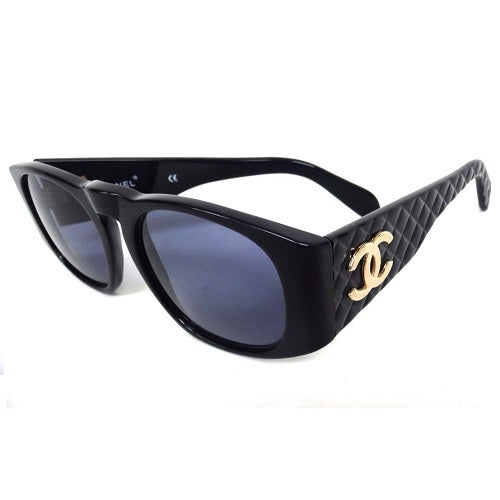 Image of SOLD OUT Chanel Black Matelasse CC Sunglasses -1990's As Seen On Lady Gaga