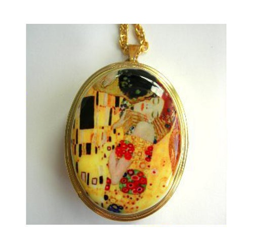 "Image of Cameo Miniature Music Box Locket ~ Gustav Klimt ""The Kiss"""