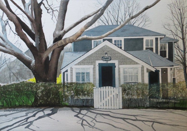 "Image of ""La Petite Cottage"" original watercolor"