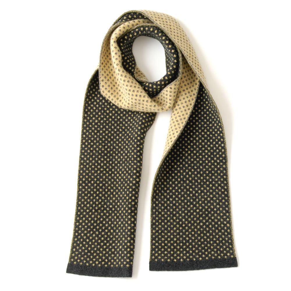 Image of Flee Dots Scarf - Navy base with Yellow dots