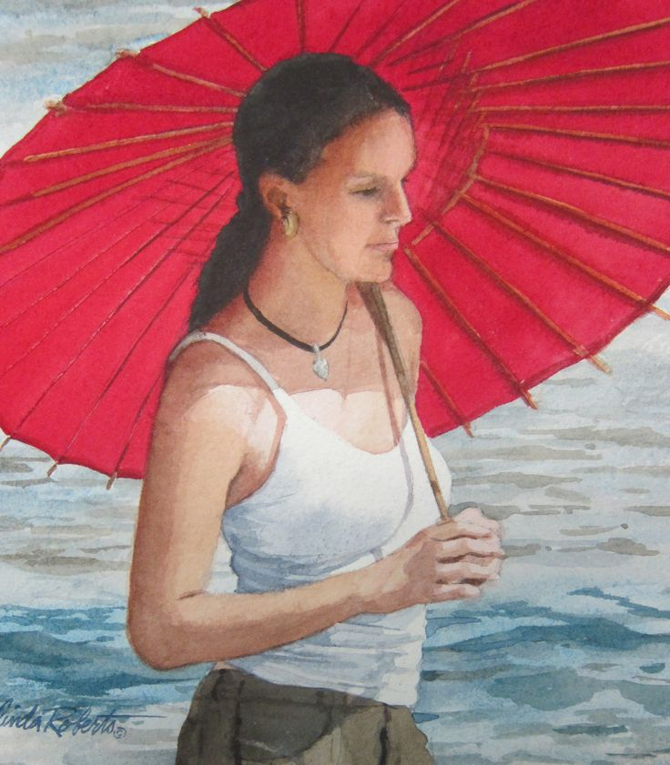 "Image of ""Red Parasol""  original watercolor"