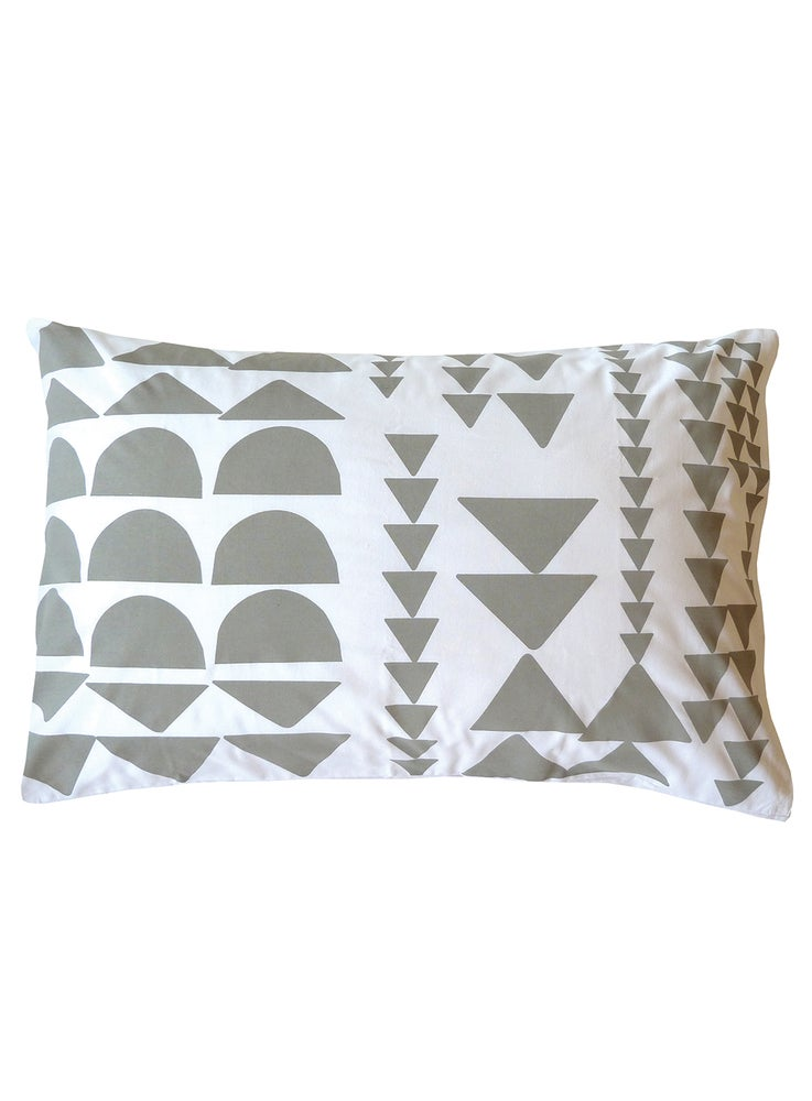 Image of GREY BLOCK PRINT PILLOWCASE