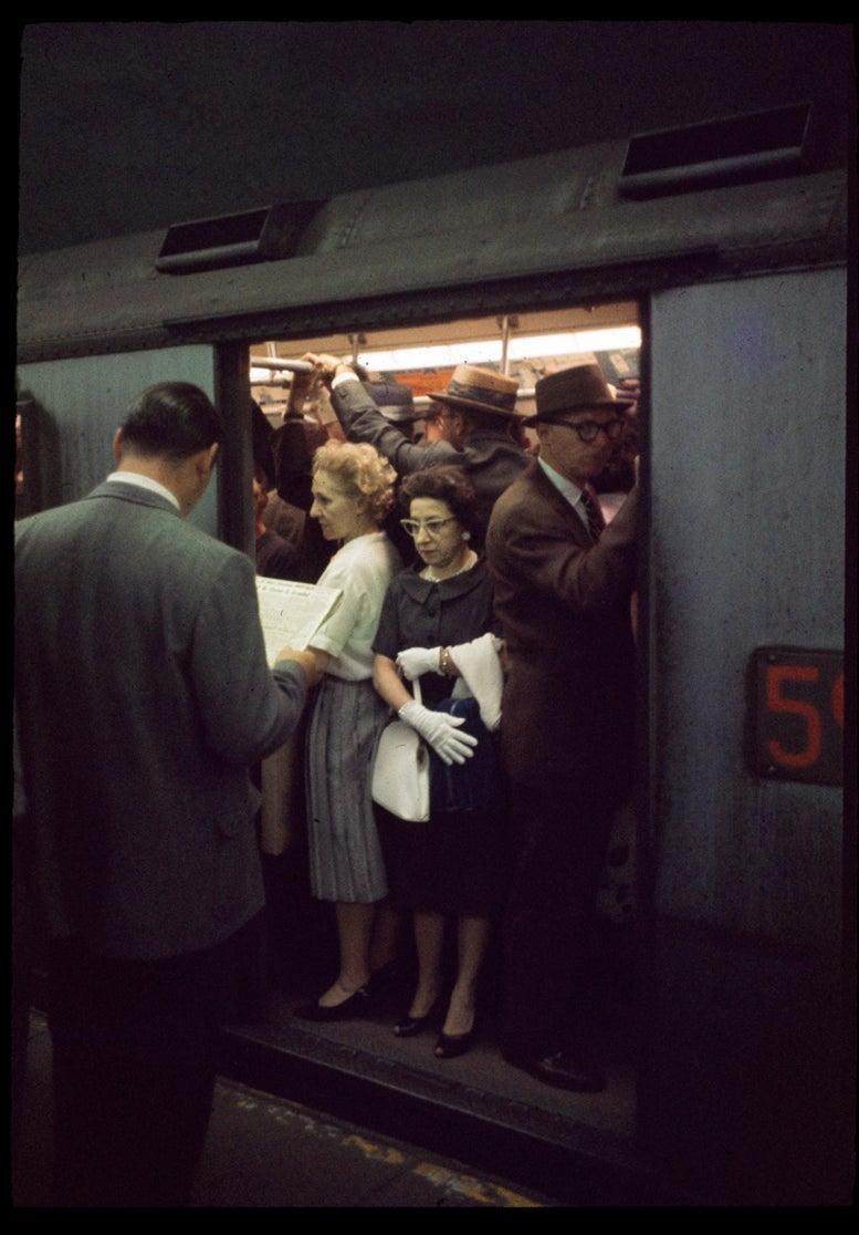 Image of New York City Subway; Rush Hour 1957