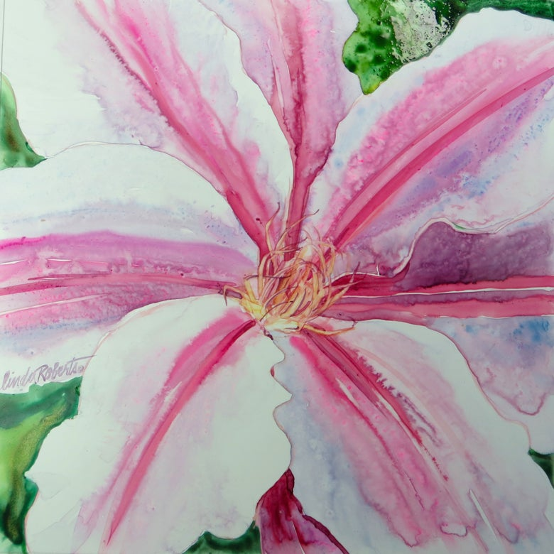 "Image of ""Clematis"" original watercolor by Linda Roberts"
