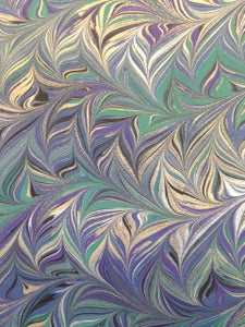 Image of Pattern #60 Intricate combed metallic on blue base