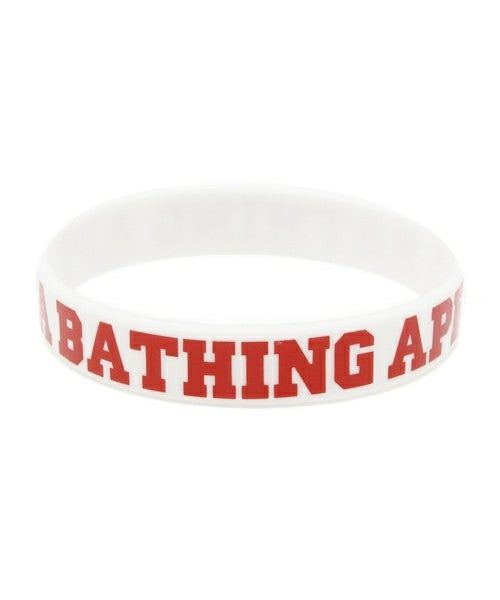 Image of A Bathing Ape (Bape)  - Rubber Bracelet (White/Red)