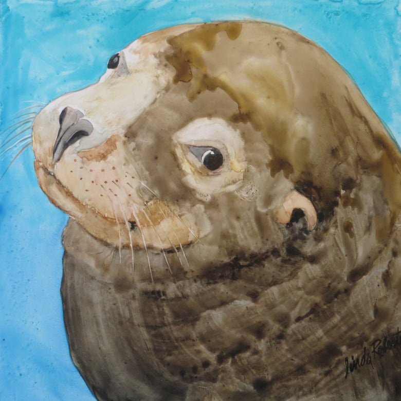 "Image of ""Sea Lion"" on Yupo paper"