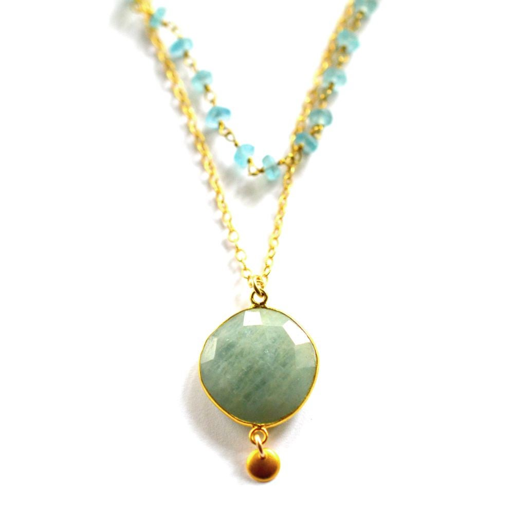 Image of Layered aquamarine necklace with apatite