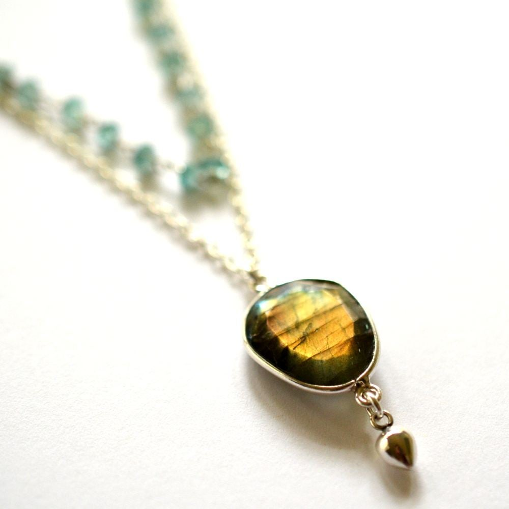 Image of Layered sterling silver labradorite necklace with apatite