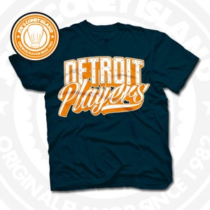 Image of Detroit Players Navy (Orange/Wht) Tee
