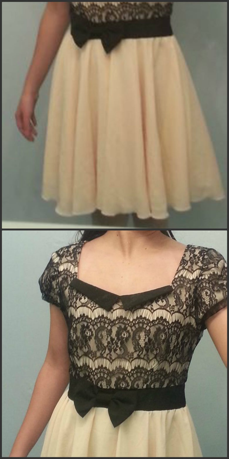 Image of Home coming Dress/Golden Black lace flowy Dress/ Vintage dress