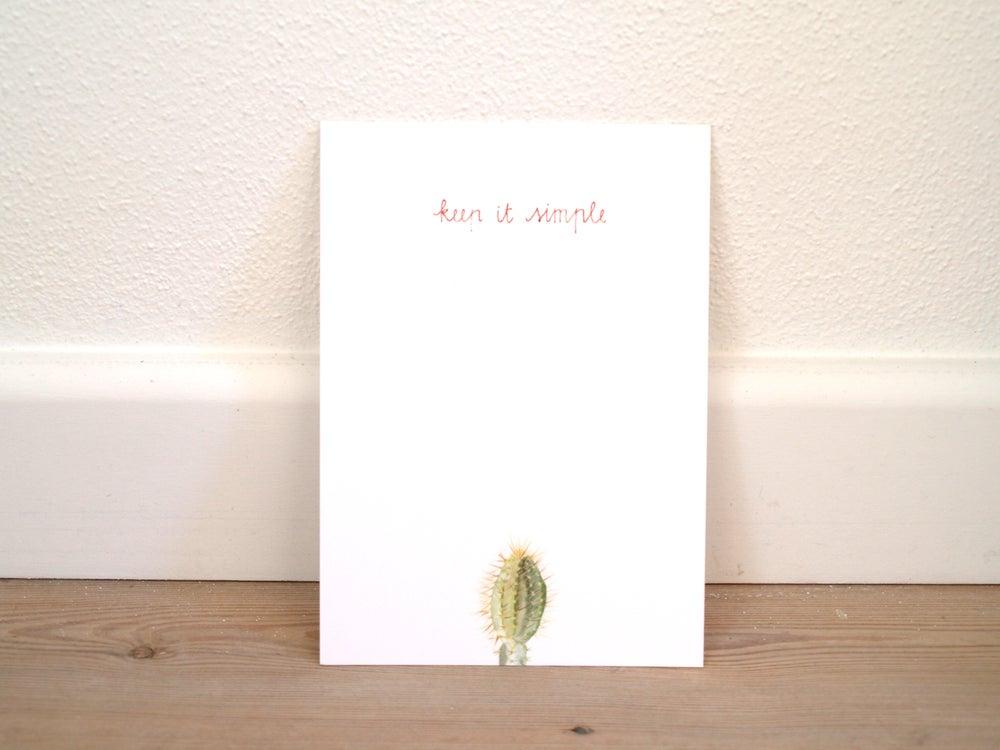 """Image of Postcard cactus aquarel """"keep it simple"""""""