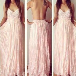 Image of CUTE PINK LONG CHIFFON LACE DRESS