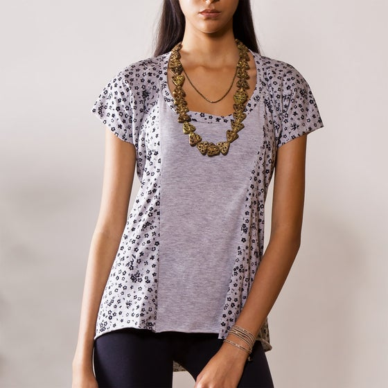 "Image of ""WILDFLOWER"" (GREY) PIECED T-SHIRT (MADAGASCAR EDITION)"