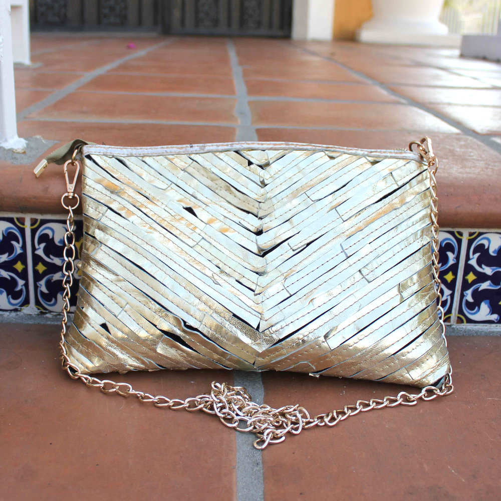 Image of Gold Sunset Leather Clutch Purse