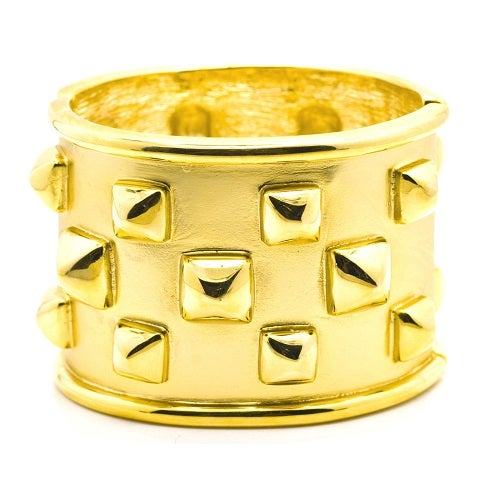 Image of SOLD OUT Kenneth Jay Lane Vintage Pyramid Studded Wide Bracelet Cuff