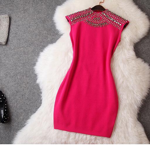 Image of Shining rivet show body hot dress