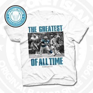 Image of GOAT Barry Sanders White Tee
