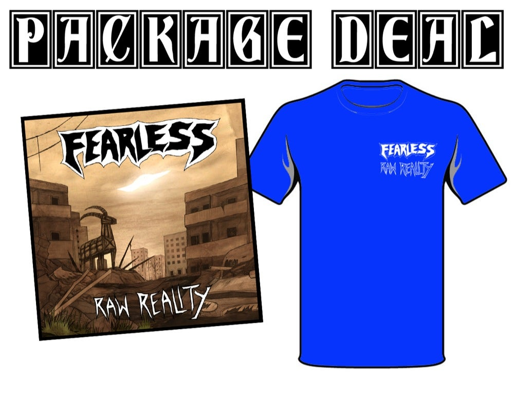 """Image of PACKAGE DEAL: FEARLESS """"Raw Reality"""" 7"""" + TS"""