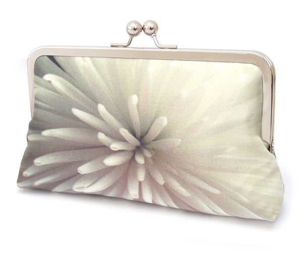 Star chrysanthemum floral clutch bag, silk purse, white clutch purse - Red Ruby Rose