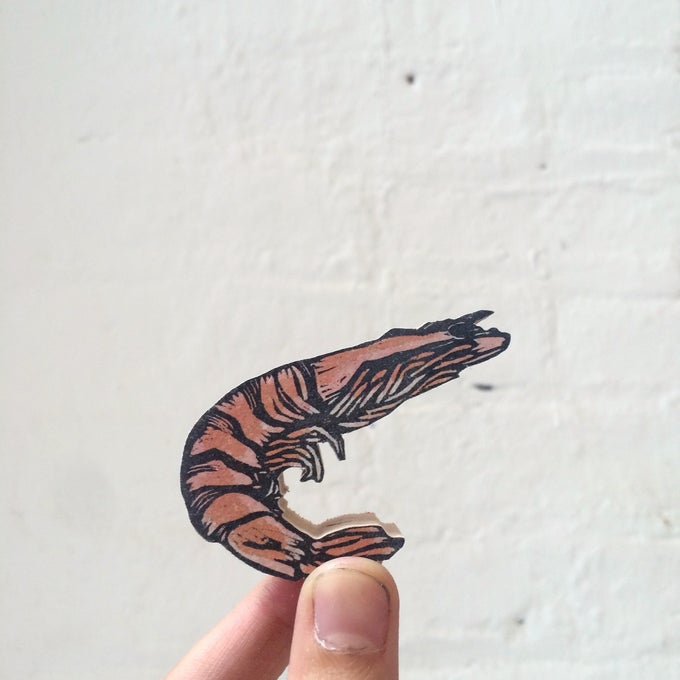 Image of Sebastian's Shrimp Woodcut Sculpture Print