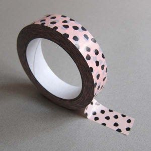 Image of Printed tape / Dot print / Light pink & black