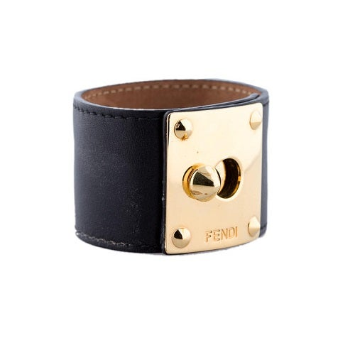 Image of SOLD OUT AUTHENTIC FENDI LEATHER LOCK CUFF BRACELET - NEW IN BOX
