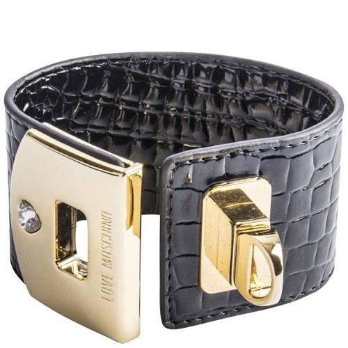 Image of SOLD OUT AUTHENTIC LOVE MOSCHINO WOMEN'S CUFF BRACELET - BLACK