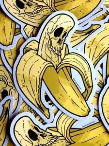 Image of Banana Skull Die Cut Vinyl Sticker