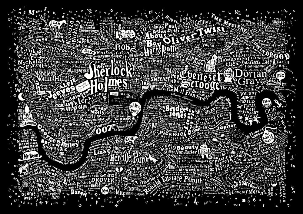 Image of Literary London Map (Frayed Edge, Black Screenprint 2014)
